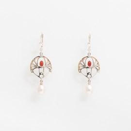 Earrings Shakudo Coral