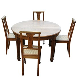 French Art Deco Table with 6 chairs