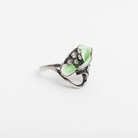 Poppy Enamel Green Ring