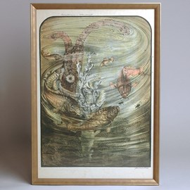 Colour lithograph Jan Schonk - Mirror Carp and Water Beetles