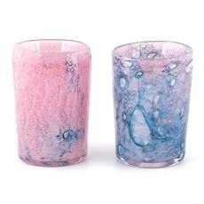 Set of 2 Glass Tea-Light Holders Ocean Dream