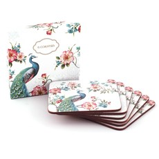 Set of 6 Coasters Peacock
