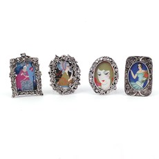 Set of 4 Mini Picture Frames Silver-Plated