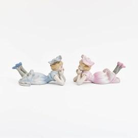 Set of 2 Porcelain Figures Twins