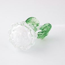 Glass Sculpture Rose White