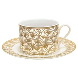 Art Deco Cup and Saucer Golden Ginkgo