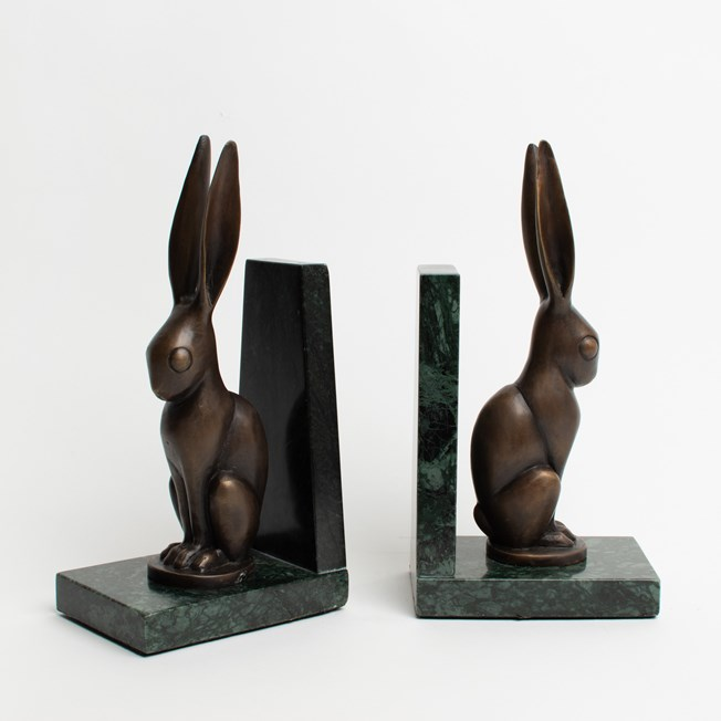 Set of Bookends Hare in Bronze