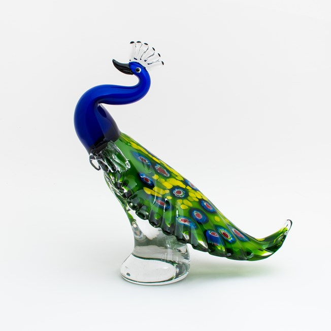 Glass Sculpture Peacock