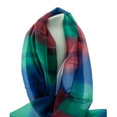 Silk Scarf Multi Coloured Blue