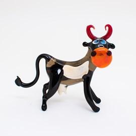 Glass sculpture Cow black / white