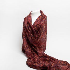 Silk Scarf Rose Arch Red