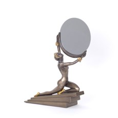 Sculpture Art Deco Lady with Mirror