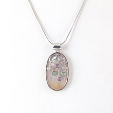 Mother-of-pearl Art Elliptical Necklace