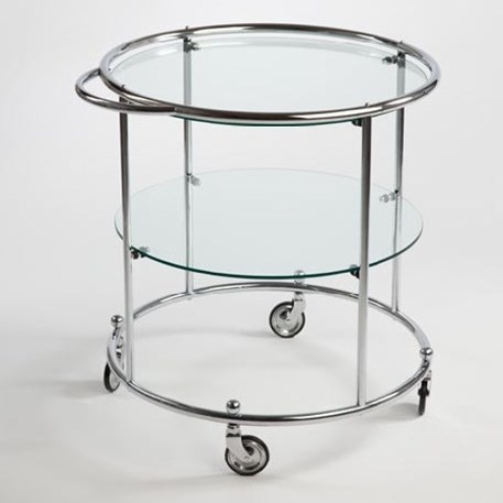 Tea-trolley with 2 Glass Panels and Wheels