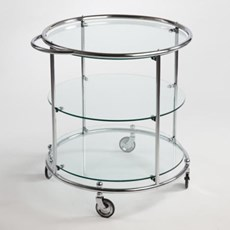 Tea-trolley with 3 Glass Plates and Wheels