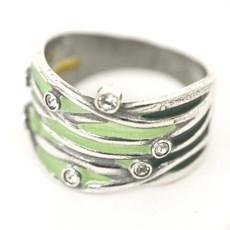 Whimsical Green Enamel Ring
