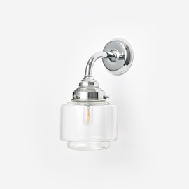 Wall lamp Small Stepped Cylinder clear Curve Chrome
