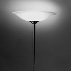 Large Floor Lamp with Etched Glass Bowl