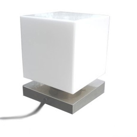 Table lamp with squarish glass shade and matted nickel finish