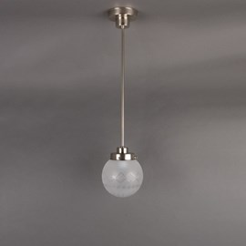 Hanging Lamp Cut Globe Etched