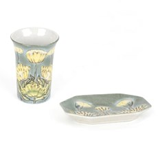 Set Ceramic Dish Marsh-marigold in Jugendstil
