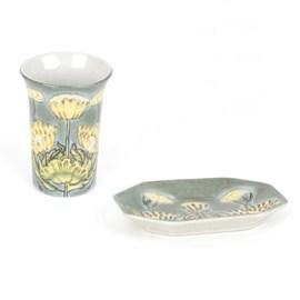 Set Ceramic Dish Marsh-marigold in Jugendstil