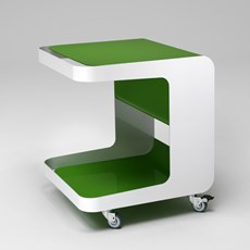 Retro Roll Container on Wheels Green