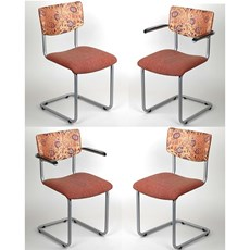 Set of 4 RVS Tube Chairs Lalique