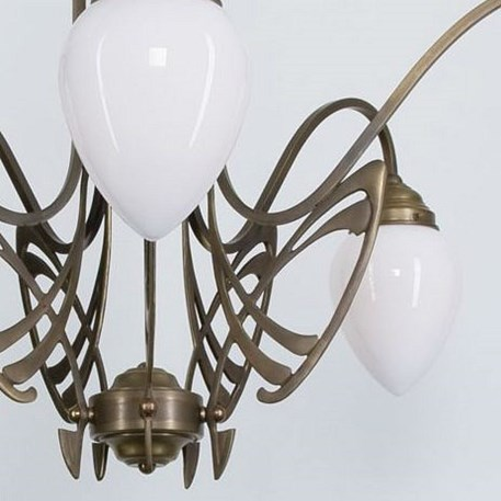 Detail Victor Horta Chandelier Elegance with opal white glass lampshades