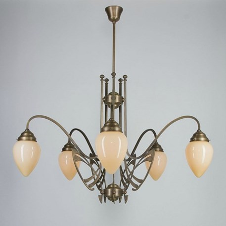 Victor Horta Chandelier Elegance with ivory-coloured glass lampshades