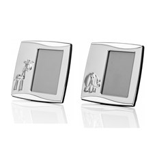 Set of 2 Silver Plated Picture Frames Elephant & Giraffe