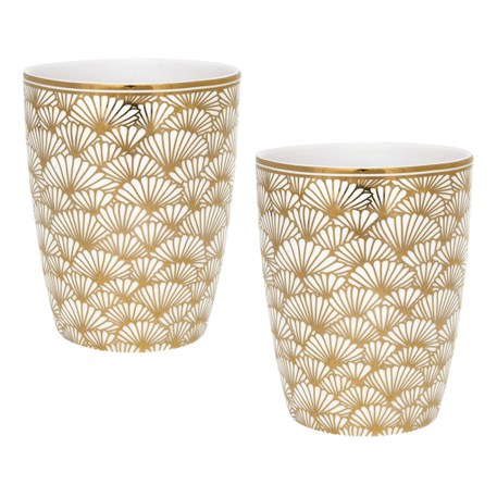 Set of 2 Latte Macchiato Mugs Golden Ginkgo