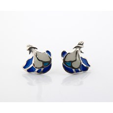 Ear Studs Ivalyn Blue and White
